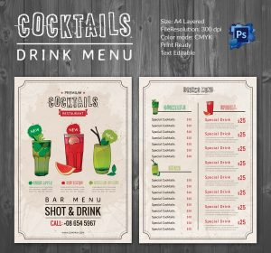 drink menu design drinks menu template
