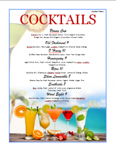 drink menu template cocktails menu template