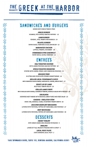 drinks menu template greek menu back
