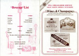 drinks menu template trans world airlines menu beverage
