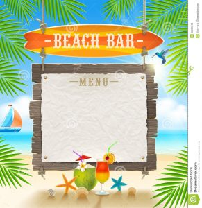 drinks menu template tropical beach bar signboard surfboard paper banner menu summer holidays design