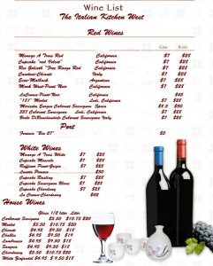 drinks menu template wine list