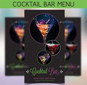 drinks menu templates cocktail bar menu template