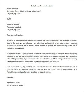 early lease termination letter sample early lease termination letter from tenant download