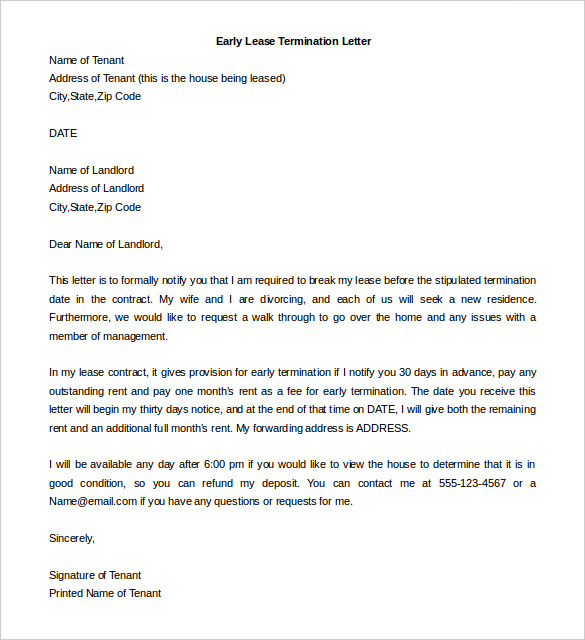 Early Lease Termination Letter Template Business