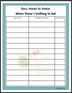 easy budget template easy meals list