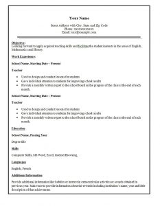 easy resume template teacher resume