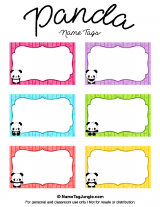 editable bookmark template panda name tags