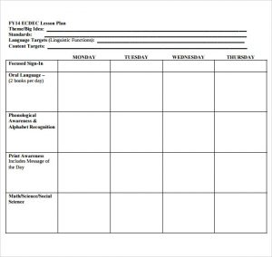 editable weekly lesson plan template printable lesson plan template for preschool