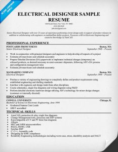 electrical engineer resume electrical designer sample resume