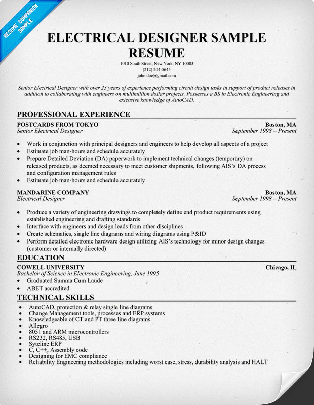 Electrical engineer resume template business for Sample resume of an electrical engineer