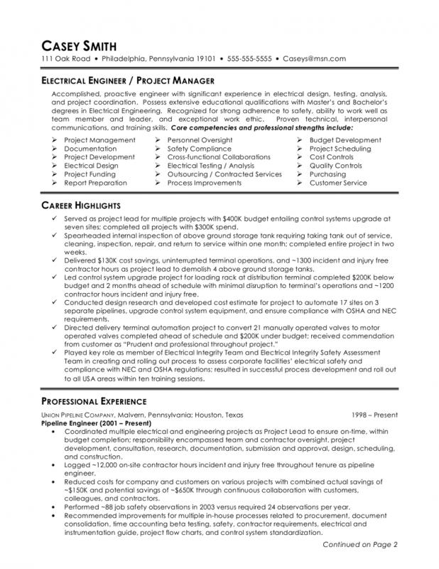 Electrical Engineer Resume  Electrical Engineer Resume Sample