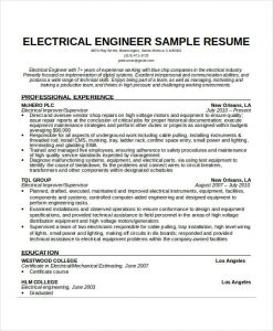 electrical engineer resume electrical engineering resume sample
