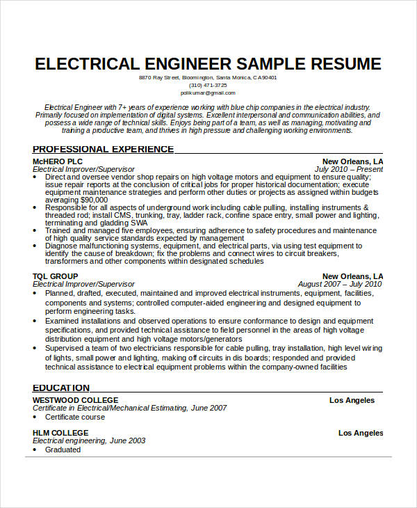 Electrical Engineer Resume Template Business