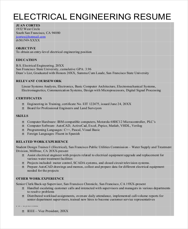 Electrical Engineer Resume  Engineer Resume