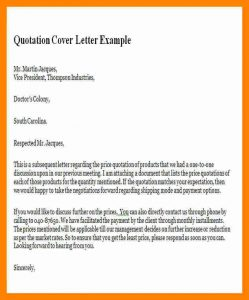 email cover letter example price quotation letter quotation cover letter example