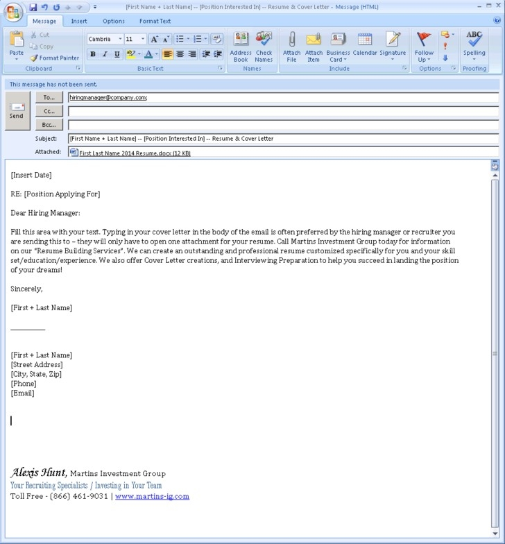email cover letter example
