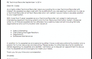 email cover letter example technical recruiter