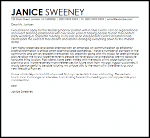 email cover letter example wedding planner