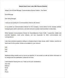 Email Cover Letter Sample | Template Business