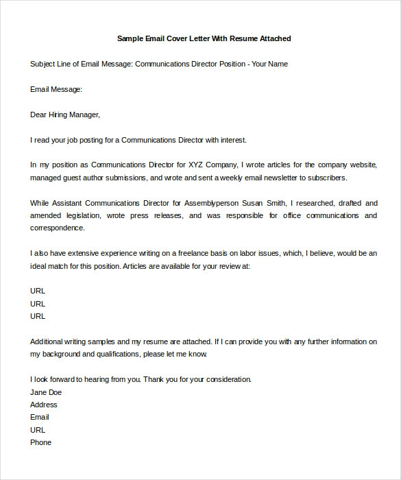 Amazing Email Cover Letter Sample On Email Cover Letter Samples