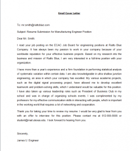 email cover letter sample email cover letter