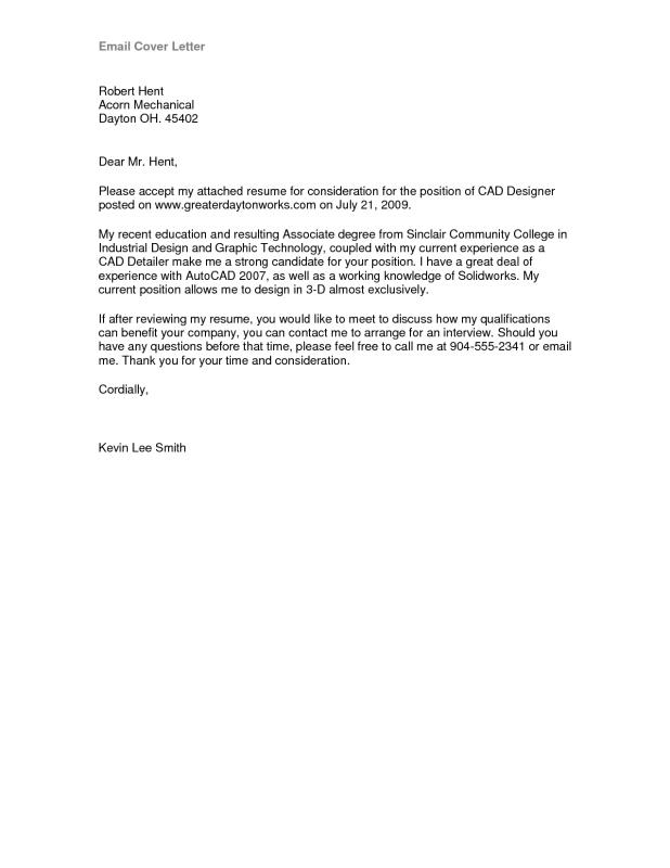 Email Cover Letter Sample  Education Cover Letter Examples