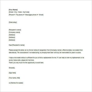 email letter format employee email resignation letter free word format download