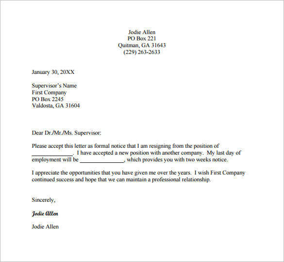 Letter Of Resignation Template Word Beauteous 13 Resignation Letter ...