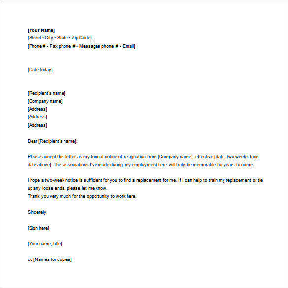 email resignation letter