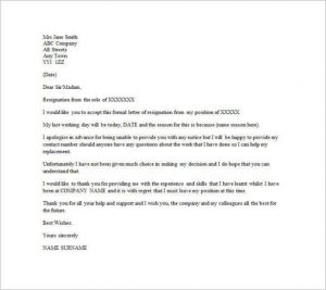 email resignation letter example of email resignation letter without notice period