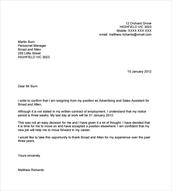How to write a letter of resignation from a job kubreforic how expocarfo Images