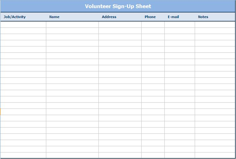 Email Sign Up Sheet  Free Sign In Sheet