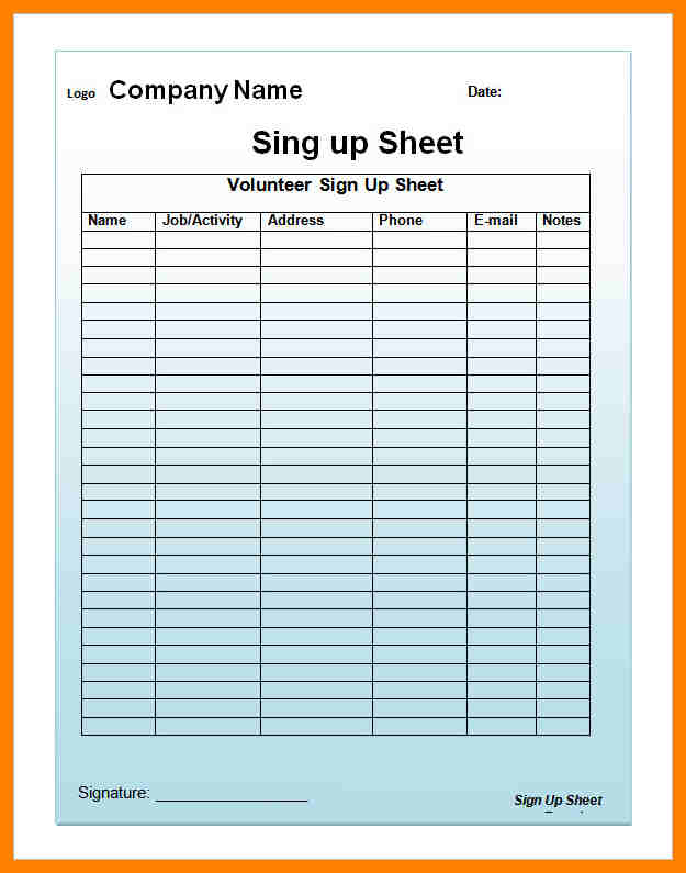 Email Sign Up Sheet  Printable Sign Up Sheet Template