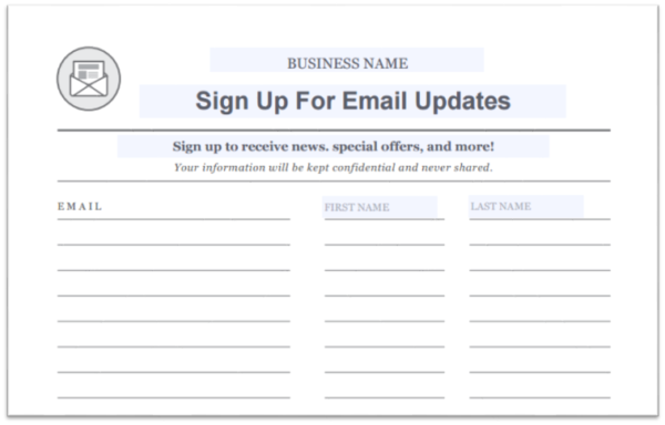 email sign up sheet template