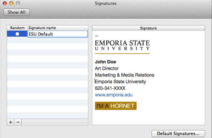 email signature college student