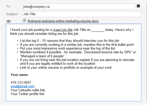 email to apply for a job online job application emai