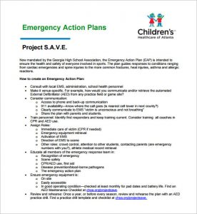 emergency action plan template emergency action plan for sports sample template