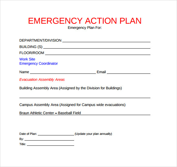 Emergency Action Plan Template  Action Plan Template Free