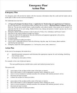emergency action plans examples emergency action plan example