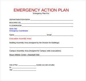 emergency action plans examples free emergency action plan template