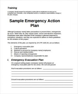 emergency action plans examples sample emergency action plan template