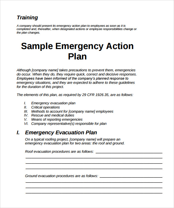 Emergency Action Plans Examples Template Business - Business action plan example