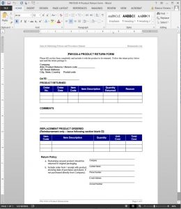 emergency contact form template pm product return form