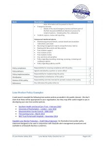 emergency contact template lone worker safety lone worker policy checklist