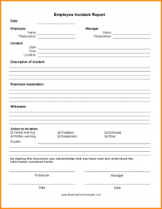 employee accident report verbal warning template employee incident report form template