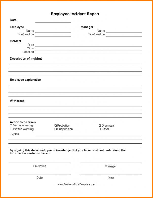 Employee Accident Report  Template Business