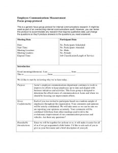 employee agreement template employee communications focus group protocol