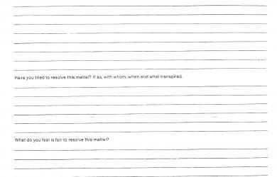 employee complaint form complaint form