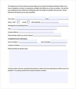 employee complaint form employee complaint form sample